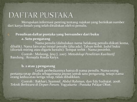 penulisan daftar pustaka tiga suku kata b indonesia kd 4 3 karya tulis dengan daftar pustaka