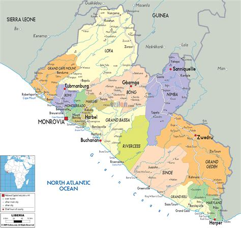 liberia map large detailed political and administrative map of liberia with roads and cities vidiani