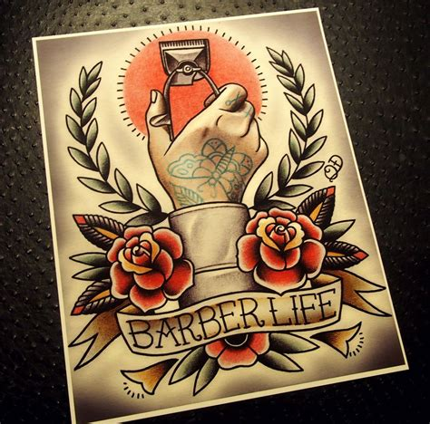 barber tattoo designs barber flash interior design