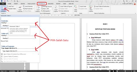 membuat daftar isi cara membuat daftar isi otomatis pada office word pro duck