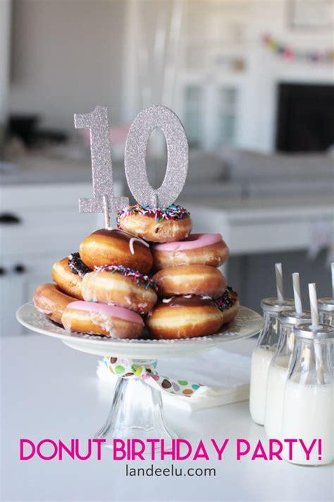 Donut Birthday Party   Donut Cake   landeelu.com