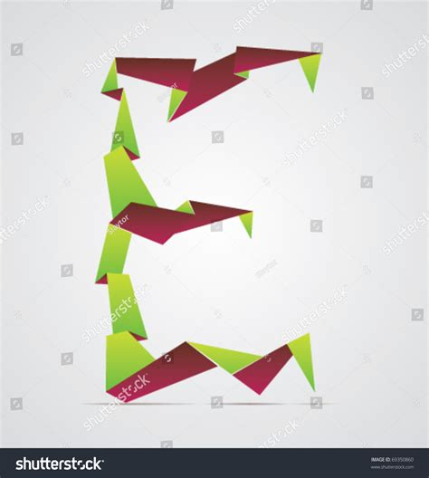 Origami Letter E - vector origami alphabet letter e 69350860