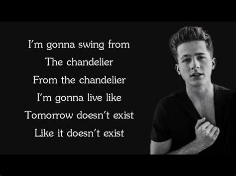 charlie puth chandelier lyrics sia chandelier charlie puth cover lyrics youtube