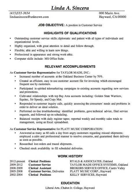 Achievements For Resume by Resume Sle Customer Service This Sle Resume Is