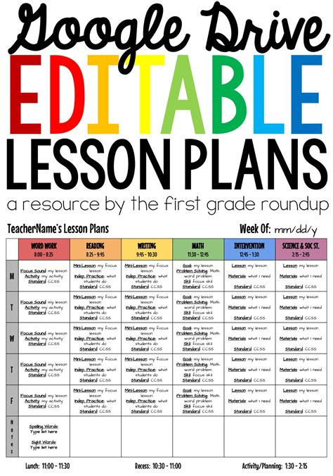 lesson plan templates editable compatible  google drive lesson plan templates teacher