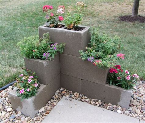 vertical and corner gardens you can make out of cinder blocks