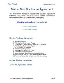 Printable Sample Non Disclosure easynda mutual non disclosure agreement printable v1