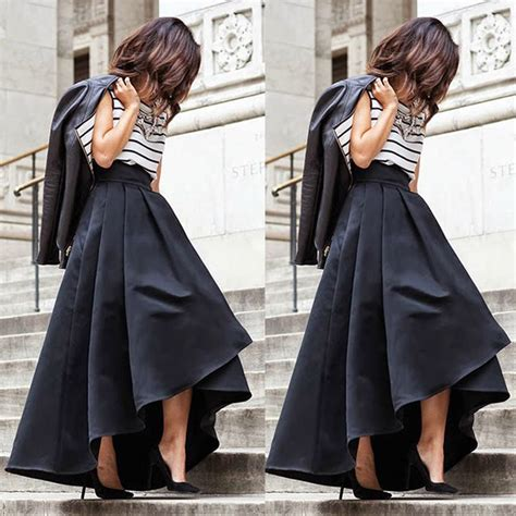 Pleated Flare Maxi Skirt Rok Fit To Big Size fashion vintage stretch high waist skater flared pleated maxi skirt formal black