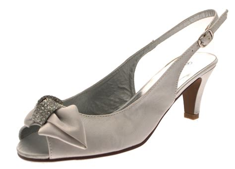Womens Satin Diamante Low Heels Wider Bridal Comfort