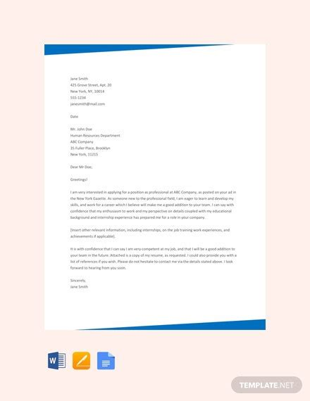 cover letter fresher template word