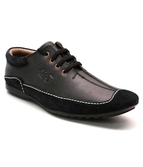 49 on comfort black leather casual shoes on snapdeal