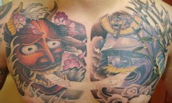 oriental chest piece tattoo full view of the asian chest piece tattoos