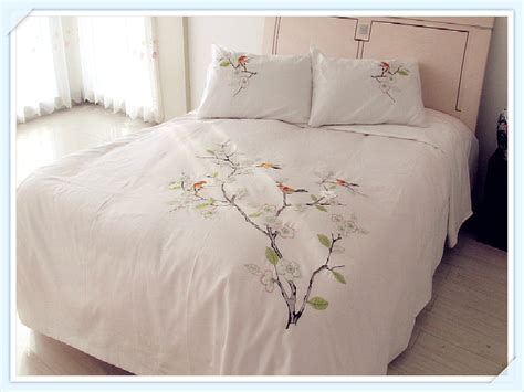 Duvet Cover Sheet 100 Combed Cotton White Embroidery Pastoral Tree And