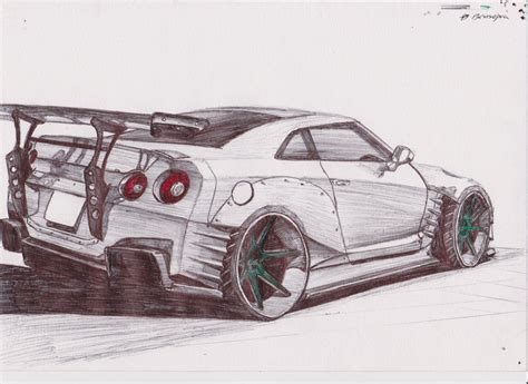 nissan gtr skyline drawing how to draw nissan gtr r35
