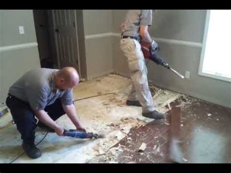 Removing glued down wood floor from concrete.   YouTube