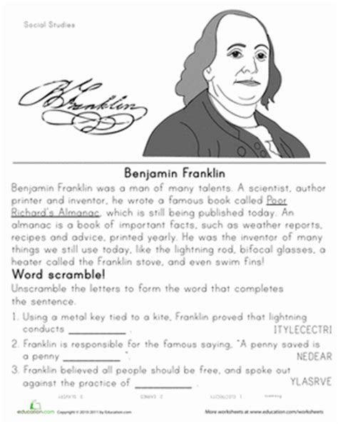 benjamin franklin biography worksheet historical heroes benjamin franklin worksheet