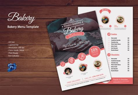 free bakery flyer templates bakery menu template 30 free word psd pdf eps