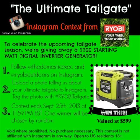 Giveaway Generator Facebook - power up anywhere with the ryobi inverter generator giveaway domestic executive online