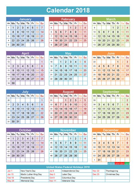 printable calendar for 2018 with holidays 2018 printable monthly calendar archives letter