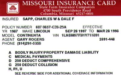 insurance card template car insurance card proof of being insured