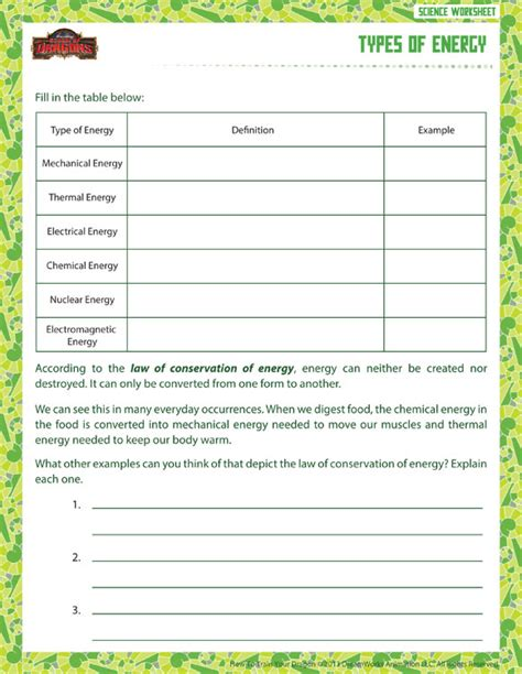 Types Of Scientists Worksheet by Types Of Energy View Printable Sixth Grade Science Worksheet School Of Dragons