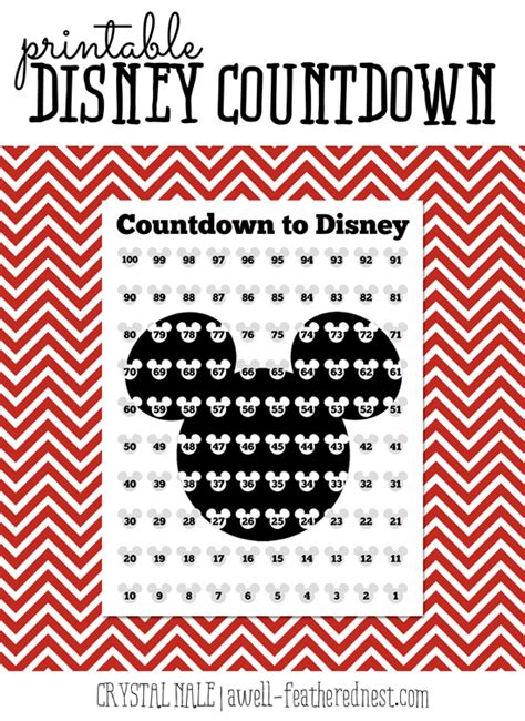 disney countdown calendar template a well feathered nest counting the days