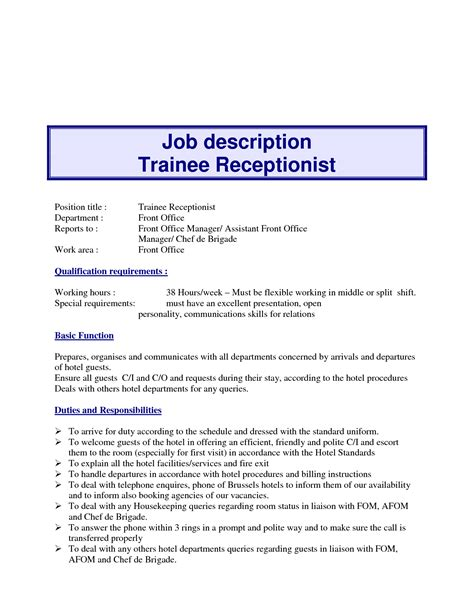 Nursing Home Receptionist Sle Resume by Nursing Home Receptionist Description