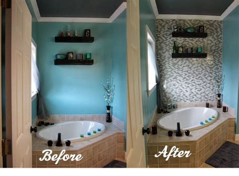 Diy Glass Tile Accent Wall In Master Bathroom Glasses Tile And Master Bathrooms