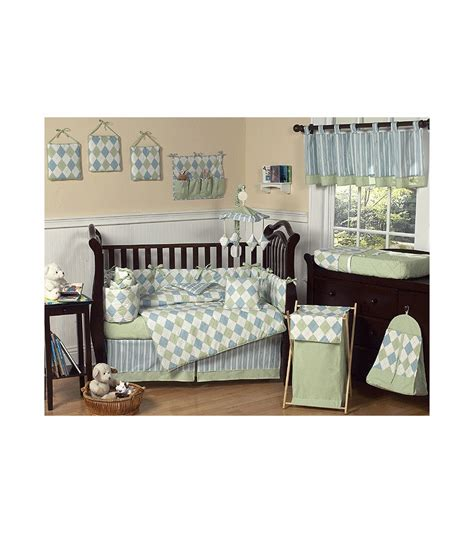 sweet jojo designs argyle green blue 9 crib