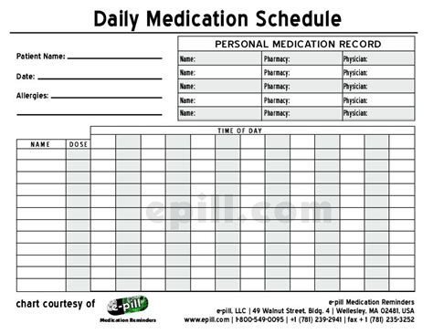 medication chart template free daily medication schedule free daily medication