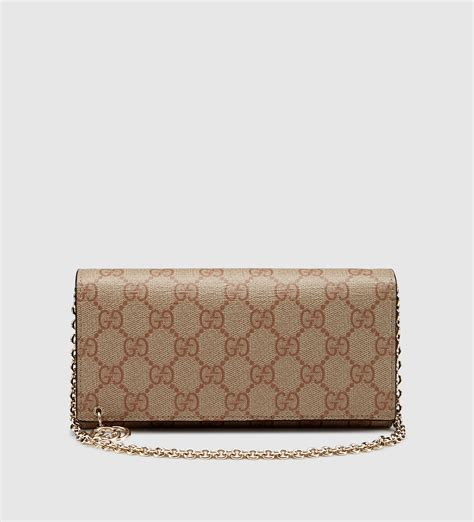 Wallet Gucci Canvas 5521a gucci gg supreme canvas chain wallet in lyst