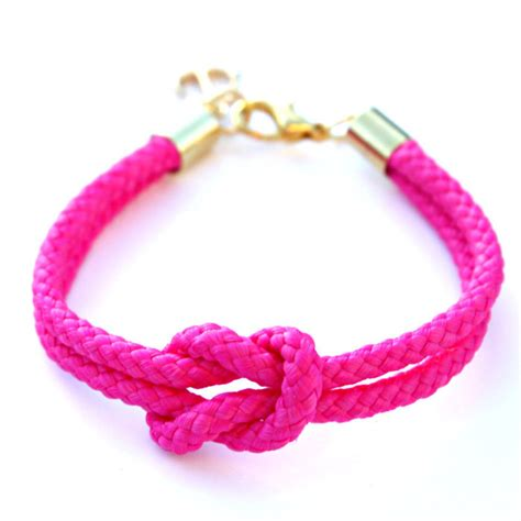neon pink rope bracelet with gold anchor skipper bracelet
