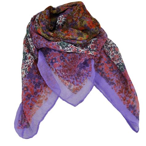 purple white multi coloured flowers floral square scarf