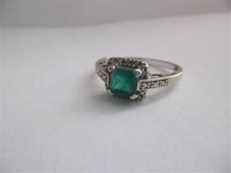 vintage emerald in 10kt white gold ring vintage