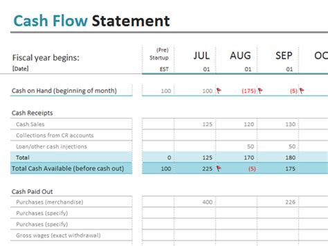 cash flow statement office templates