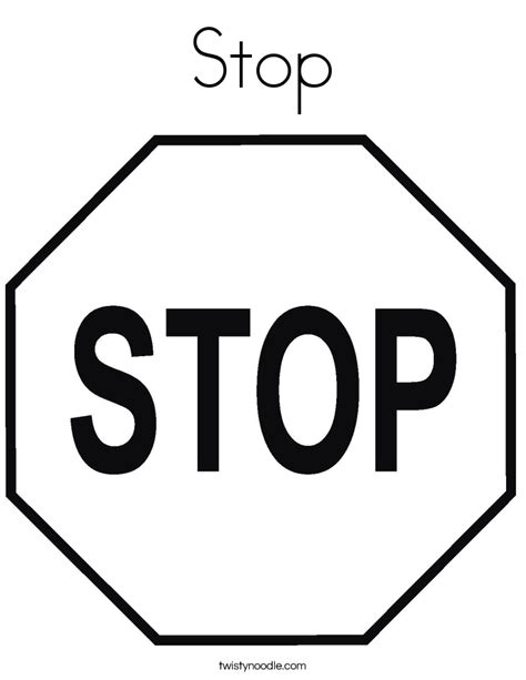 Stop Sign Coloring Pages stop coloring page twisty noodle