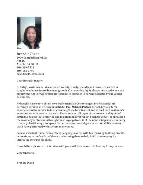 cover letter for a salon receptionist salon cover letter