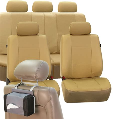 sporty pu leather car seat cover set beige free gift tissue dispenser ebay