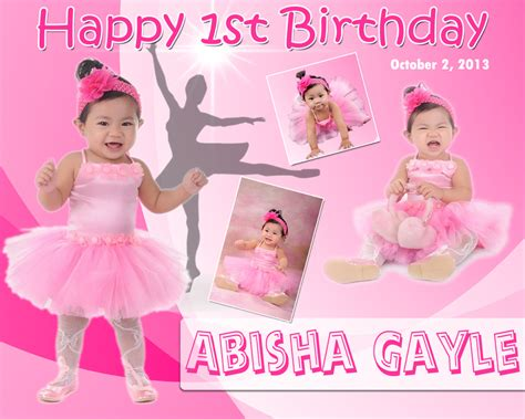 Layout Design For 1st Birthday | abisha gayle s 1st birthday ballerina theme tarpaulin