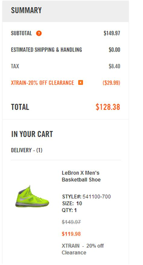 nike coupon code 20 off promo codes coupons 2016 lebron x men s basketball shoe 119 98 shipped 20 off