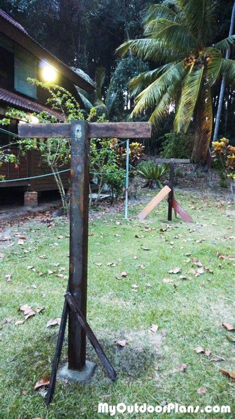 diy clothesline myoutdoorplans  woodworking plans