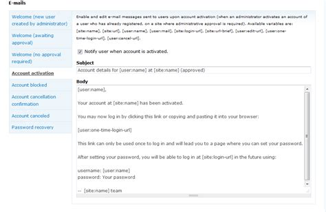 activation email template how to edit account activation email text in drupal 7