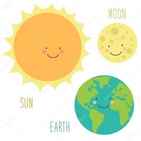 imagenes de sol y luna animadas conjunto de caracteres del sol la tierra y la luna