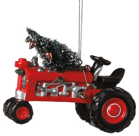 tractor with tree lights ornament deere farm country gift traditional