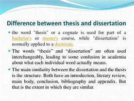 Image result for what is the difference between a thesis and disertation