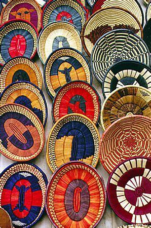 colorful woven baskets colorful woven baskets at a crafts market in nairobi
