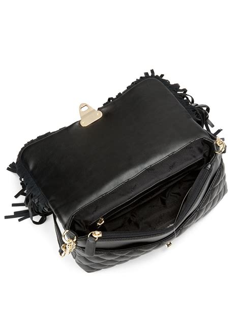 quilted leather calvin klein quilted leather shoulder bag in black black