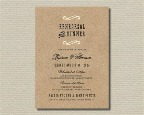 wedding rehearsal dinner invitations printable wedding rehearsal dinner invitation kraft look