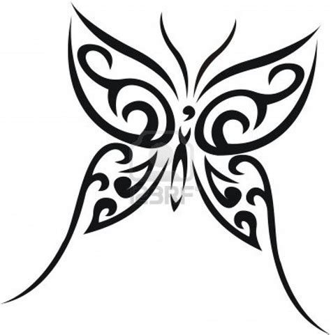 black ink tribal butterfly design