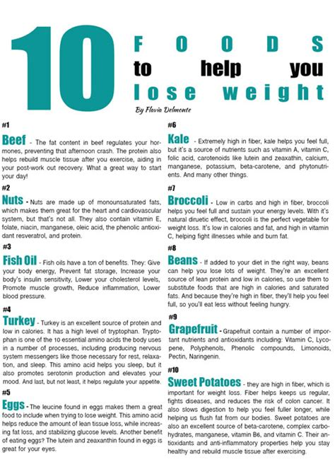 Tasty Thursday 10 Foods to Help you Lose Weight